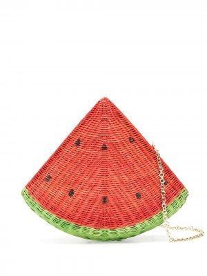 Соломенный клатч Watermelon SERPUI. Цвет: красный