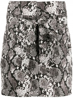 Юбка мини со змеиным принтом The Attico. Цвет: серый