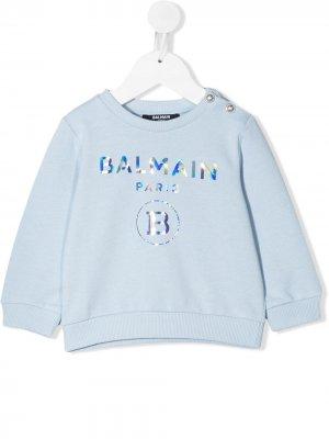 Толстовка со светоотражающим логотипом Balmain Kids. Цвет: синий