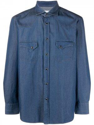Джинсовая рубашка с нагрудными карманами Tagliatore. Цвет: синий