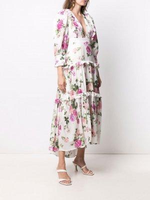 Платье с V-образным вырезом и цветочным принтом LoveShackFancy. Цвет: белый