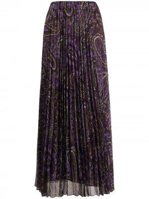 Юбка макси с принтом пейсли P.A.R.O.S.H.. Цвет: фиолетовый