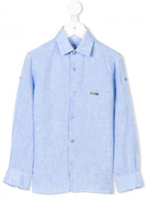 Рубашка на пуговицах с длинными рукавами Stefano Ricci Kids. Цвет: синий