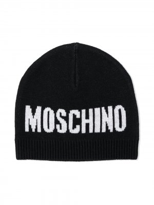 Шапка бини с логотипом Moschino Kids. Цвет: черный