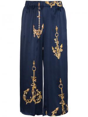 Спортивные брюки с морским узором Natasha Zinko. Цвет: синий