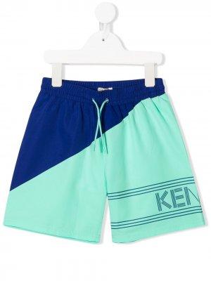 Плавки-шорты в стиле колор-блок Kenzo Kids. Цвет: зеленый