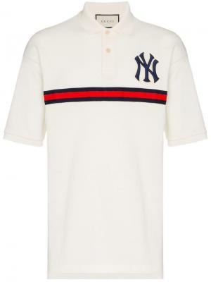 Рубашка-поло с нашивкой New York Gucci. Цвет: белый