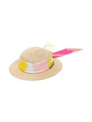 Шляпа с платком Emilio Pucci Junior. Цвет: нейтральные цвета