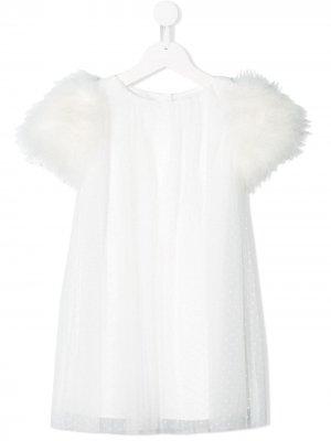 Платье с короткими рукавами вышивкой Charabia. Цвет: белый