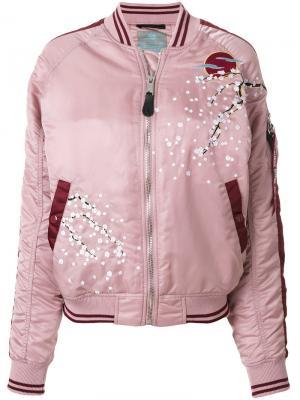 Куртка-бомбер с цветущей сакурой Alpha Industries. Цвет: розовый
