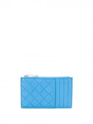 Картхолдер с плетением Intrecciato Bottega Veneta. Цвет: синий