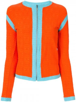 Фактурная куртка на молнии с логотипом Chanel Pre-Owned. Цвет: оранжевый