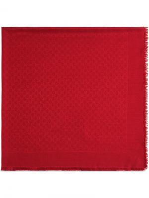 Жаккардовая шаль GG Gucci. Цвет: красный