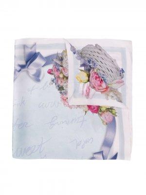 Платок Fantasia с цветочным принтом Monnalisa. Цвет: нейтральные цвета