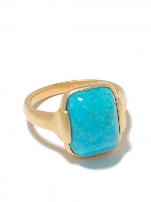 Золотое кольцо Grace с бирюзой White Bird. Цвет: голубой