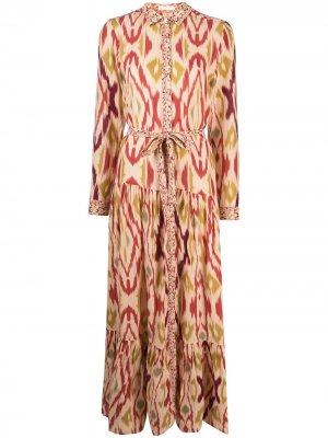Платье-рубашка макси с абстрактным принтом Mes Demoiselles. Цвет: розовый