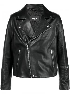 Приталенная байкерская куртка Yang Li. Цвет: черный