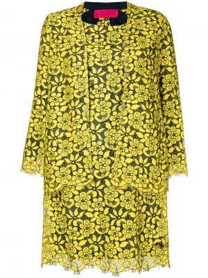 Накидка с платьем цветочным кружевом Christian Lacroix Pre-Owned. Цвет: желтый