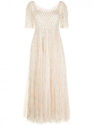 Вечернее платье с пайетками Needle & Thread. Цвет: нейтральные цвета