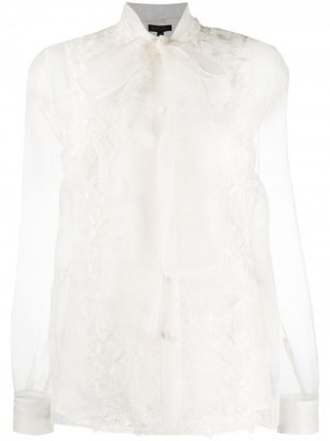 Полупрозрачная блузка с цветочной вышивкой Escada. Цвет: нейтральные цвета