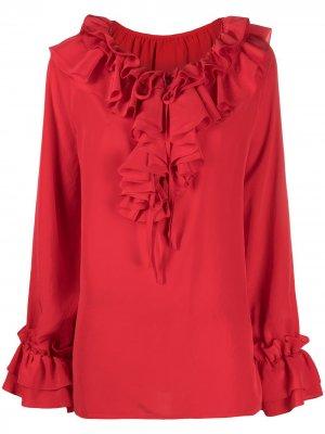 Блузка с расклешенными рукавами и оборками P.A.R.O.S.H.. Цвет: красный