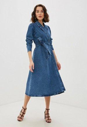 Платье джинсовое Selected Femme. Цвет: синий
