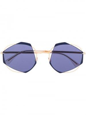 Солнцезащитные очки Achilles в геометричной оправе Mykita. Цвет: золотистый