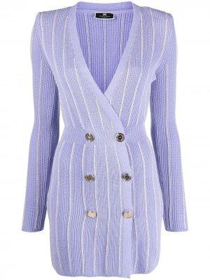 Двубортное трикотажное платье Elisabetta Franchi. Цвет: фиолетовый