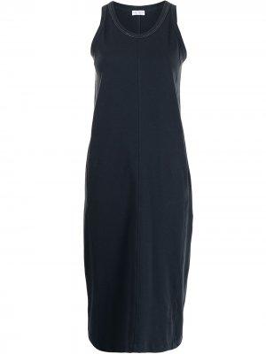 Платье из джерси без рукавов Brunello Cucinelli. Цвет: синий