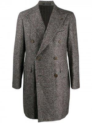 Двубортное пальто Tagliatore. Цвет: коричневый