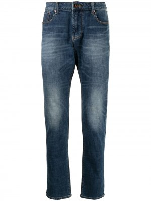Прямые джинсы с эффектом потертости Emporio Armani. Цвет: синий