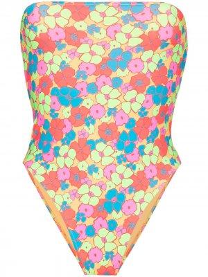 Купальник-бандо Stella с цветочным принтом Frankies Bikinis. Цвет: оранжевый