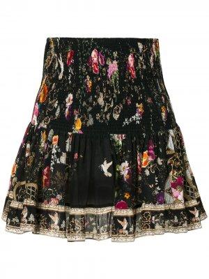Декорированная юбка мини с цветочным принтом Camilla. Цвет: черный