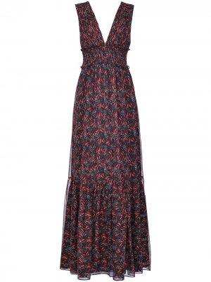 Платье макси с цветочным принтом Pinko. Цвет: черный