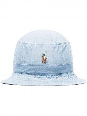 Панама с логотипом Polo Ralph Lauren. Цвет: синий