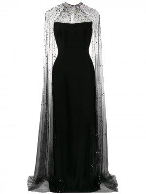 Декорированное платье с кейпом Jenny Packham. Цвет: черный
