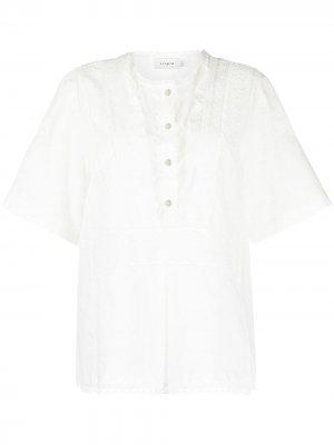 Топ с английской вышивкой Coach. Цвет: белый
