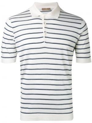 Рубашка-поло в полоску Cruciani. Цвет: белый