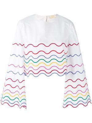 Блузка с волнистой вышивкой Sara Battaglia. Цвет: белый