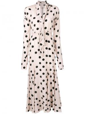 Платье в горошек Natasha Zinko. Цвет: нейтральные цвета