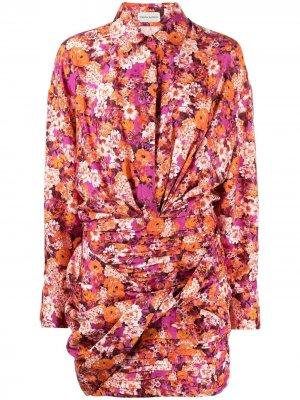 Платье-рубашка с цветочным принтом Magda Butrym. Цвет: оранжевый