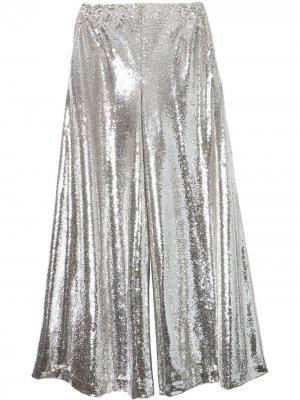Расклешенные брюки с пайетками Carolina Herrera. Цвет: серебристый