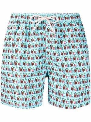 Плавки-шорты с графичным принтом Mc2 Saint Barth. Цвет: синий