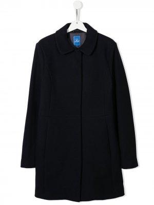 Однобортное пальто Fay Kids. Цвет: синий