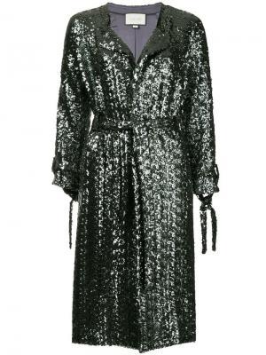 Пальто с поясом и отделкой пайетками Alexis. Цвет: металлик