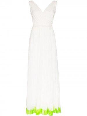 Плиссированное платье с контрастным подолом Vika Gazinskaya. Цвет: белый