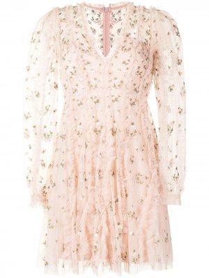 Платье Frieda с цветочной вышивкой Needle & Thread. Цвет: розовый