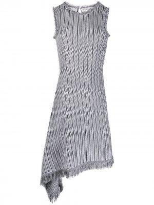 Платье асимметричного кроя Oscar de la Renta. Цвет: черный