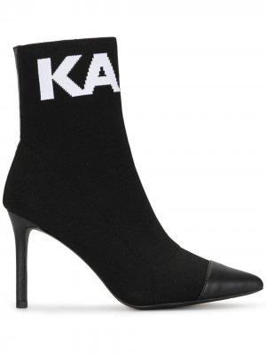 Ботильоны-носки Pandora с логотипом вязки интарсия Karl Lagerfeld. Цвет: черный