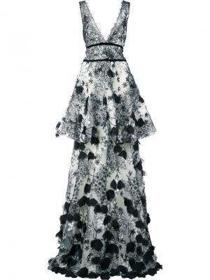 Платье макси с вышивкой Marchesa Notte. Цвет: черный